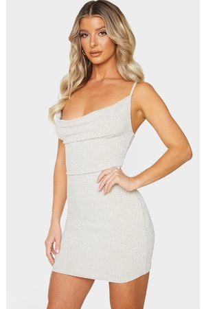 PRETTYLITTLETHING Women Bodycon Dresses - Nude Textured Glitter Strappy Cowl Neck Bodycon Dress