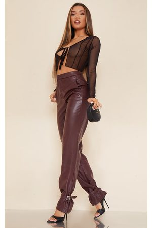 PRETTYLITTLETHING Women Leather Pants - Dark Chocolate Faux Leather Tie Ankle Straight Leg Pants