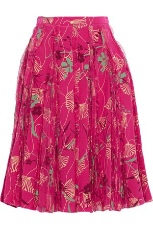 VALENTINO Women Printed Skirts - Woman Chiffon-trimmed Printed Silk Crepe De Chine Mini Skirt Fuchsia Size 00