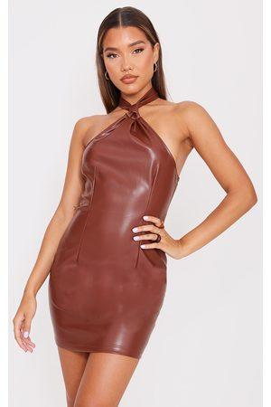 PRETTYLITTLETHING Women Bodycon Dresses - Pu Halterneck Knotted Bodycon Dress