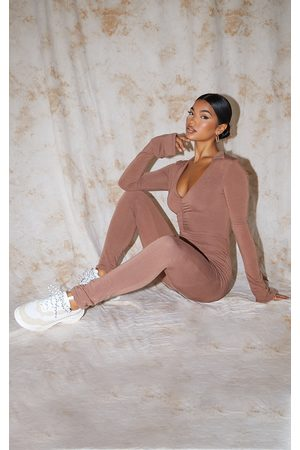 PRETTYLITTLETHING Women Casual Dresses - Recycled Chocolate Contour Jersey Collar Detail Split Cuff Jumpsuit