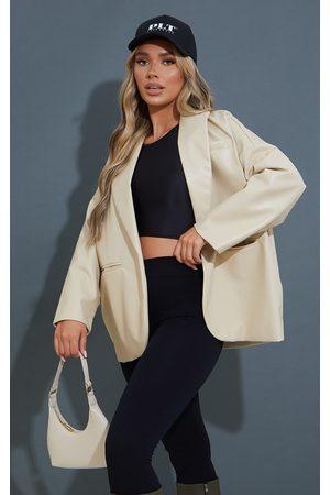 PRETTYLITTLETHING Women Leather Jackets - Faux Leather Drop Shoulder Oversized Dad Blazer