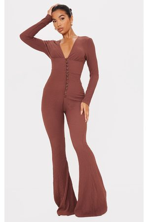 PRETTYLITTLETHING Women Jumpsuits - Chocolate Crinkle Open Back Button Detail Jumpsuit