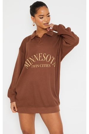 PRETTYLITTLETHING Women Casual Dresses - Chocolate Graphic Front Oversized Waffle Sweater Dress