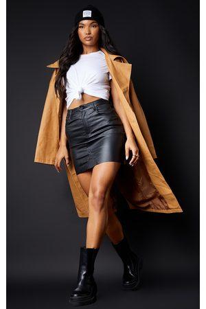 PRETTYLITTLETHING Women Party Dresses - Coated Denim Extreme Mini Skirt