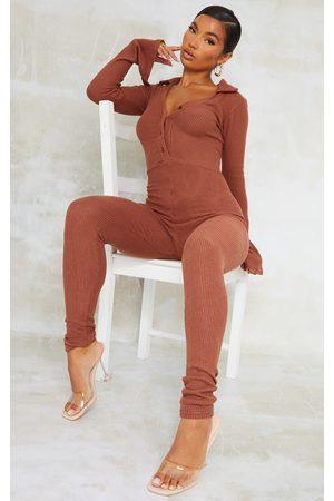 PRETTYLITTLETHING Women Casual Dresses - Chocolate Brushed Rib V Neck Shirt Jumpsuit