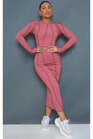 PRETTYLITTLETHING Women Asymmetrical Dresses - Mauve Rib Asymmetric Seam Detail Long Sleeve Midi Dress