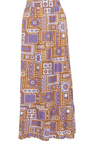 Antik Batik Women Printed Skirts - Woman Honoka Printed Twill Maxi Skirt Tan Size L