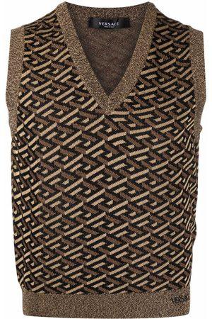 VERSACE Men Tank Tops - La Greca pattern knitted vest