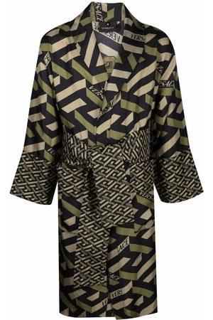 VERSACE La Greca monogram silk robe