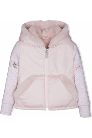 Lapin House Hooded faux-fur knit-sleeve jacket