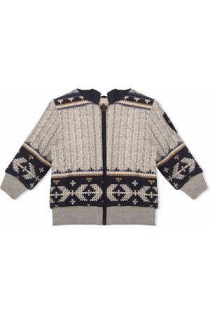 Lapin House Bomber Jackets - Hooded geometric-pattern knit jacket - Grey