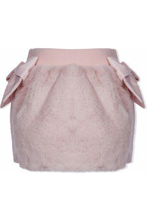 Lapin House Faux-fur contrast bow-trim skirt