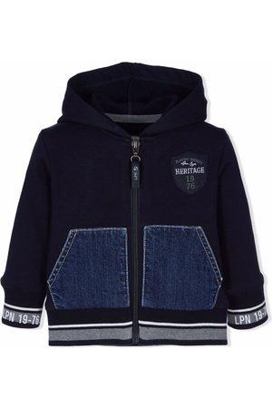 Lapin House Denim-panel zip-up hooded jacket