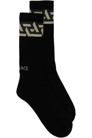 VERSACE Logo-print ribbed socks