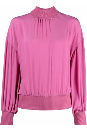 Moschino High-neck gathered crepe blouse