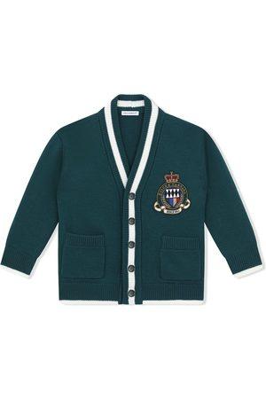 Dolce & Gabbana Boys Cardigans - Logo-patch wool cardigan