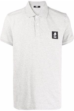 Karl Lagerfeld Logo-patch cotton polo shirt - Grey