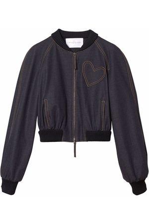 Carolina Herrera Women Bomber Jackets - Heart-patch denim bomber jacket