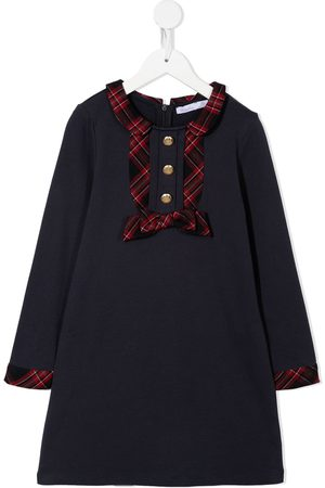 PATACHOU Girls Casual Dresses - Checked-trim bow-detail dress