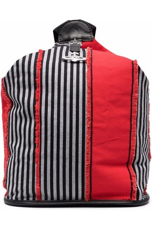Vivienne Westwood Frayed-trim striped backpack