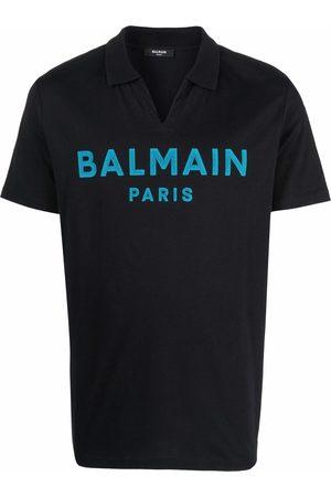 Balmain Men Polo Shirts - Flocked-logo print polo collar T-shirt