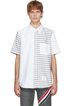 Thom Browne Men Short sleeves - White & Grey Checked Short Sleeve Shirt