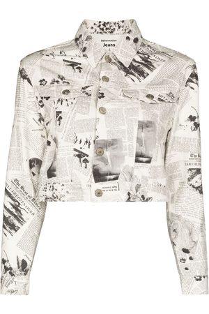 Reformation Women Denim Jackets - Cora newspaper print denim jacket
