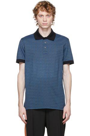 Salvatore Ferragamo Men Polo Shirts - Blue & Black Gancini Polo