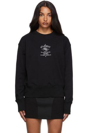 Givenchy Women Sweatshirts - Black Embroidered Crest Sweatshirt