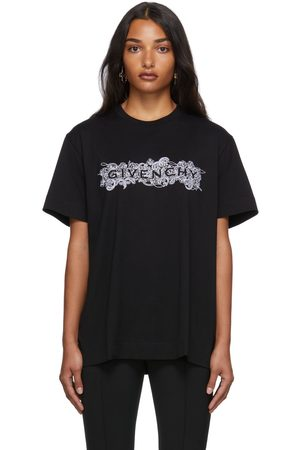 Givenchy Women T-shirts - Black Embroidered 4G T-Shirt