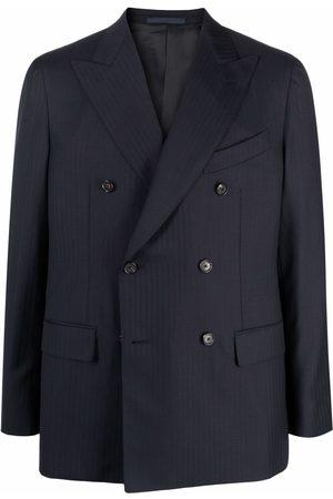 CARUSO Double-breasted tonal pinstripe blazer