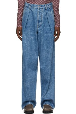 DRIES VAN NOTEN Men Wide Leg - Blue Marbled Wide-Leg Jeans