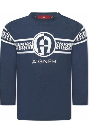 Aigner Long-sleeve striped logo-print T-shirt