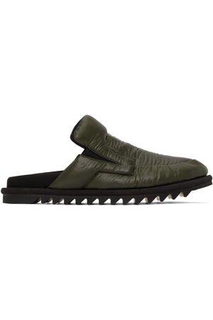 DRIES VAN NOTEN Men Loafers - Green Nylon Padded Open Back Loafers