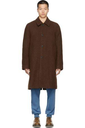 DRIES VAN NOTEN Men Coats - Brown Felted Alpaca Coat