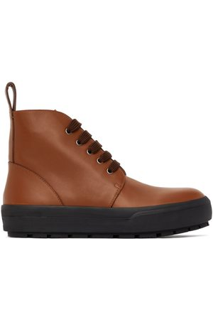 DRIES VAN NOTEN Tan Leather Lace-Up Boots