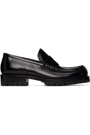 DRIES VAN NOTEN Black Polished Leather Loafers
