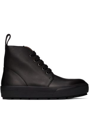 DRIES VAN NOTEN Men Lace-up Boots - Black Leather Lace-Up Boots