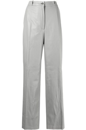 Loulou Studio Straight-leg leather trousers - Grey