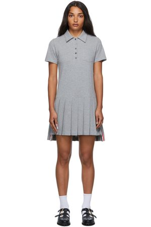 Thom Browne Women Casual Dresses - Grey Piqué Pleated Polo Dress