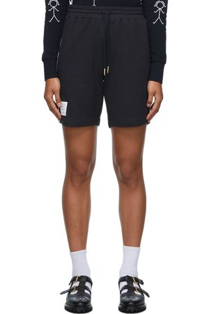 Thom Browne Women Shorts - Navy & White Contrast Stripe Shorts