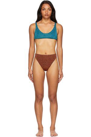 Oseree Women Bikinis - SSENSE Exclusive Blue & Brown Lumière 90s Sporty Bikini