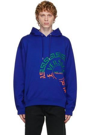VERSACE Men Hoodies - Blue Greca Logo Hoodie