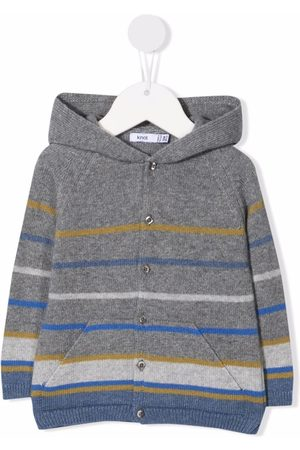 KNOT Striped button-up knitted hoodie - Grey