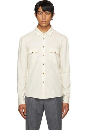 Brunello Cucinelli Men Shirts - Off-White Cashmere & Silk Shirt