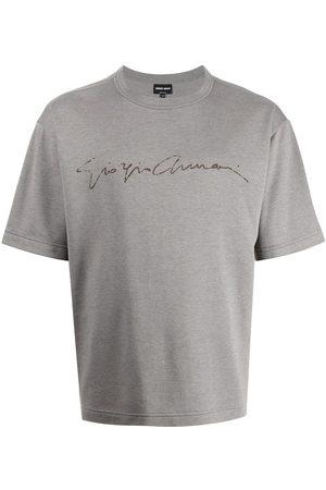 Armani Logo-print silk-blend T-shirt