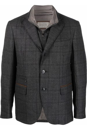 corneliani Men Blazers - Plaid-check print blazer - Grey