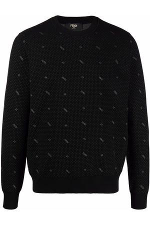 Fendi Men Sweatshirts - FF-embroidery crew-neck sweatshirt