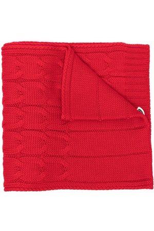 Moncler Boys Scarves - Cable knit logo-patch scarf
